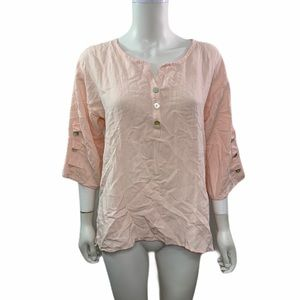 Soft Surroundings  3/4 Sleeve Solid Pink Blouse